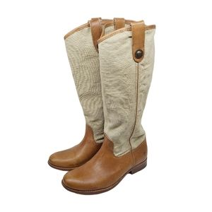 Frye Melissa Canvas Button Logo Tall Riding Boots
